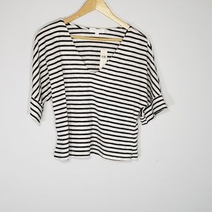 anthropologie eri +ali navy striped cropped top